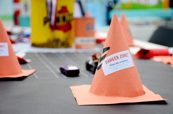 car themed shower party cone favors