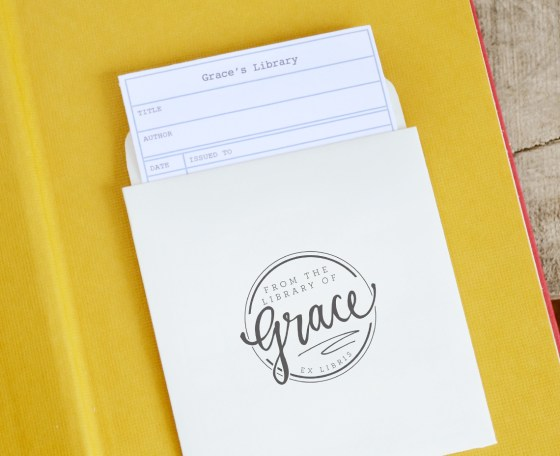 your new friend sam - bookplate and library pocket cards grace
