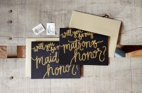 Bridesmaid Bridal Party Invitations by Your New Friend Sam - Black Cardstock with Gold Glitter Embossing, Maid or Matron of Honor