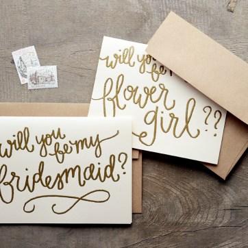 Cream Cardstock with Bronze Embossing, Kraft Brown Envelopes