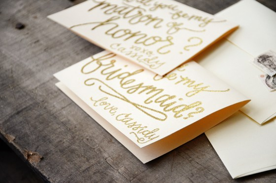 Bridesmaid Bridal Party Invitations by Your New Friend Sam - Cream Cardstock with Gold Glitter Embossing Personalized Bridesmaid Love Bride