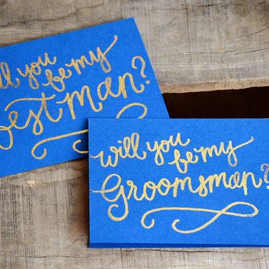 Bridesmaid Bridal Party Invitations by Your New Friend Sam - Navy Blue Cardstock with Gold Glitter Embossing Mens Cards