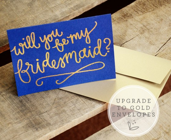 Bridesmaid Bridal Party Invitations by Your New Friend Sam - Navy Cardstock with Gold Glitter Embossing, Bridesmaid Upgrade to Gold Envelopes