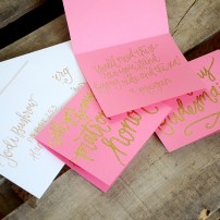 Addressed envelopes with personalized inscription inside cards