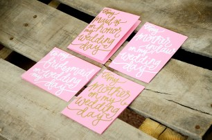 Pink Cardstock with White Opaque and Gold Embossing