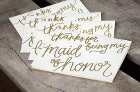 Bridesmaid Bridal Party Thanks For Being My Maid of Honor Card by Your New Friend Sam - Cream Cardstock with Gold Glitter Embossing