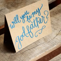 Godparent Invitations by Your New Friend Sam - Kraft with Blue Metallic Embossing, Will you be my Godfather