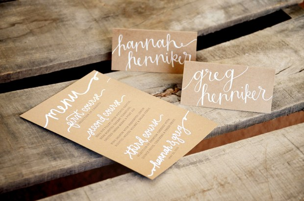 Your New Friend Sam Wedding Handwritten Menu and Tent Cards