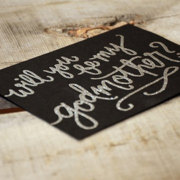 Godmother Invitations by Your New Friend Sam - Black Cardstock with Silver Glitter Embossing