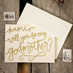 Godmother Invitations by Your New Friend Sam - Cream Cardstock with Personalized Gold Embossing
