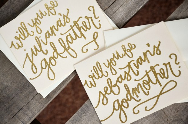 Godmother Invitations by Your New Friend Sam - Cream Cardstock with Personalized Gold Glitter Embossing