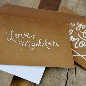 Godmother Invitations by Your New Friend Sam - Kraft Cardstock with Personalized White Embossing Signature 2