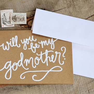 Godmother Invitations by Your New Friend Sam - Kraft Cardstock with White Embossing 2