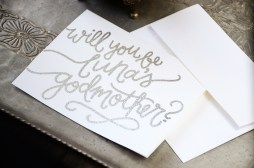 Godmother Invitations by Your New Friend Sam - White Cardstock with Personalized Silver Glitter Embossing