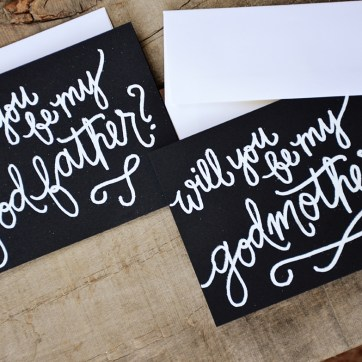 Godparent Invitations by Your New Friend Sam - Black Cardstock with White Embossing 2