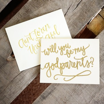 Godparent Invitations by Your New Friend Sam - Cream Cardstock with Gold Glitter Embossing and Personalized Envelopes