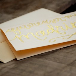 Madrina Invitations by Your New Friend Sam - Cream Cardstock with Gold Glitter Embossing detail
