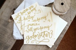 Will You Be My Godmother Personalized by Your New Friend Sam - Cream Cardstock with Gold Embossing