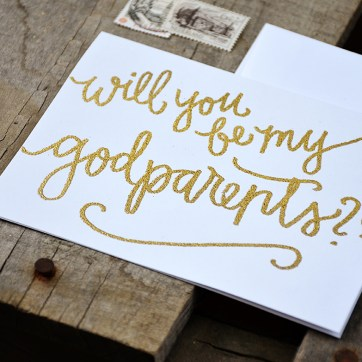 Will You Be My Godparents by Your New Friend Sam - White Cardstock with Gold Embossing detail
