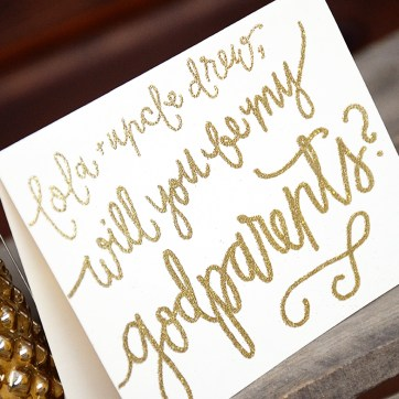 Will You Be My Godparents Personalized Detail by Your New Friend Sam - Cream Cardstock with Gold Embossing