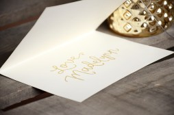 Will You Be My Godparents Personalized Signature by Your New Friend Sam - Cream Cardstock with Gold Embossing