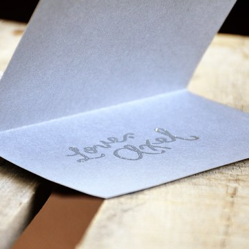 Will You Be My Godparents Personalized Signature by Your New Friend Sam - Gray Cardstock with Silver Sparkle Embossing