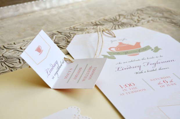 sam allen creates tea bag bridal shower invitation detail
