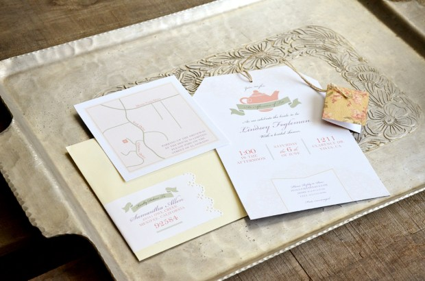 sam allen creates tea bag bridal shower invitation
