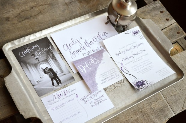 Watercolor Water Lily and Handletttered Wedding Invitation Suite from Sam Allen Creates