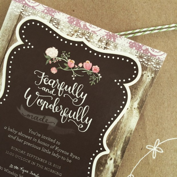 Fearfully and Wonderfully Made Baby Shower Invitation by Sam Allen Creates
