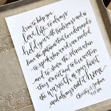 Handwritten Wedding Vows by Your New Friend Sam - Christy and Joshua