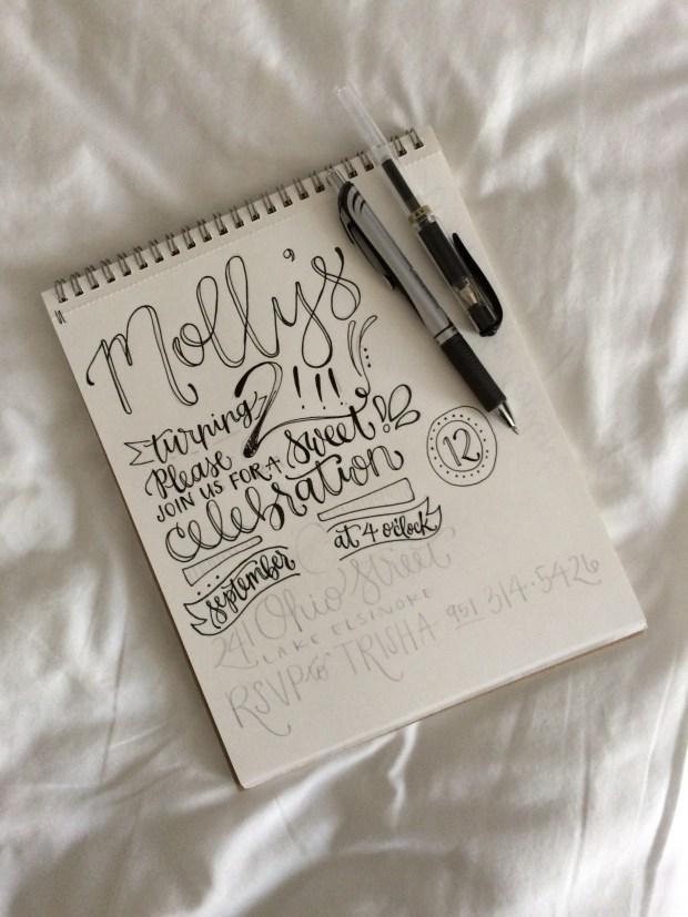 Molly's Handwritten Birthday Invitation Sketch Process by Sam Allen Creates