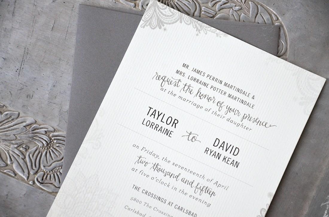 Sam Allen Creates Wedding Invitation Suite for Taylor invite only