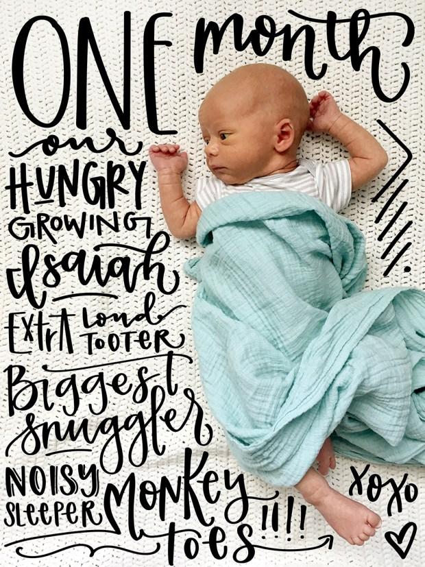 Sam Allen Creates Handlettered Isaiah Baby One Month