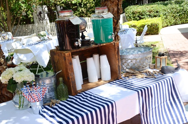 Sams Nautical Baby Shower Drink Table