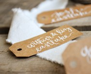 Small Kraft Tags with White Ink, Honeysuckle Lettering Style