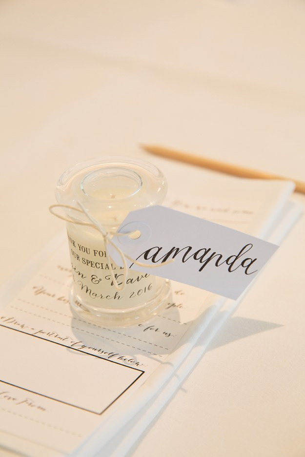 Small White Tags with Black Ink, Honeysuckle Lettering Style — Photography provided by Alison Mayfield