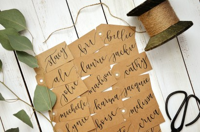 Small Kraft Tags with Black Ink, Honeysuckle Lettering Style