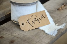 Small Kraft Tags with Black Ink, Dahlia Lettering Style
