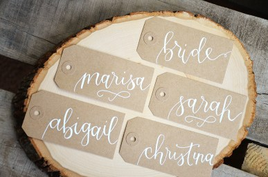 Large Kraft Tags with White Ink, Honeysuckle Lettering Style