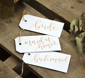 Your New Friend Sam Calligraphy Handwritten Name Tag Wedding Placecards Large White with Bronze Iris lettering