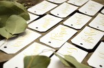 Your New Friend Sam Calligraphy Handwritten Name Tag Wedding Placecards Small White with Gold Dahlia lettering 2