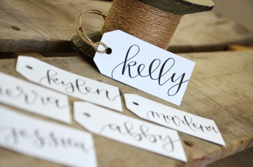 Small White Tags with Black Ink, Dahlia Lettering Style