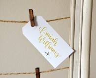 Large Whie Tags, Gold and Black Ink in Poppy Lettering Style