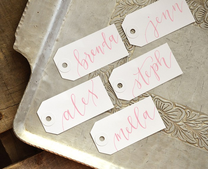 Small White Tags with Pink Ink, Iris Lettering Style