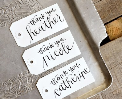 Large White Tags with Black Ink, Honeysuckle Lettering Style