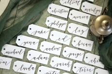 Your New Friend Sam Wedding Calligraphy Handwritten Name Tag Placecards White with Black Ink Calla Lily 1