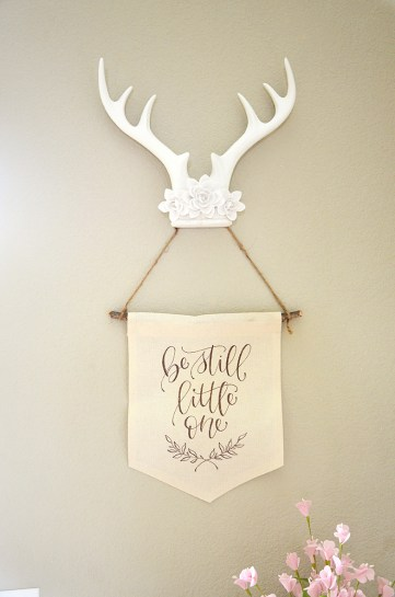Shabby Chic Tribal Baby Shower Antlers and Handwritten canvas banner