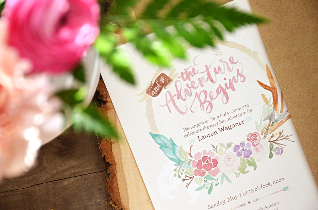 The Adventure Begins Shabby Chic Baby Shower Invitation 1 Tribal Watercolor Wreath