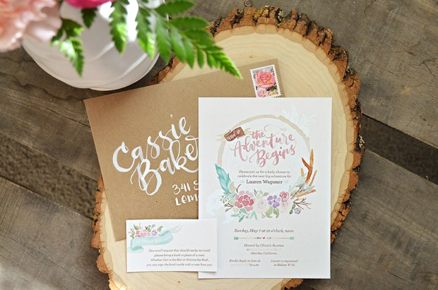 The Adventure Begins Shabby Chic Baby Shower Invitation 2 Tribal Watercolor Wreath